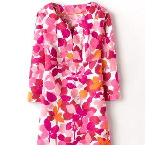Boden Floral Linen Tunic 3/4 Sleeve Dress Sz US 8R